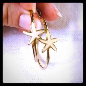 Jewelry - White Starfish Hoop Earrings